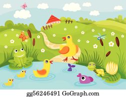 Three Fish In The Pond Illustration Royalty Free Cliparts, Vectors, And  Stock Illustration. Image 93146995.