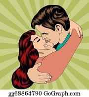 eps illustration pop art kissing couple vector clipart gg68864751