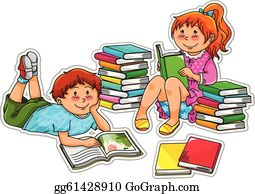 Kids Reading Books Clip Art Royalty Free Gograph