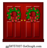 Christmas Wreath With Holly Red Berries And Bow Stock Vector - Illustration  of clipart, design: 137225240