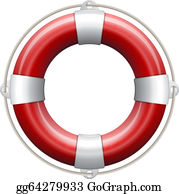 2c23c882cb8 Clip Art Vector - Striped red and white lifebuoy with rope around ...