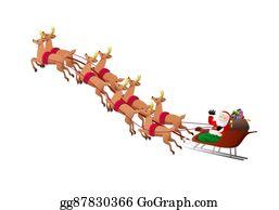 reindeers pulling santa claus sleigh - Santa Claus And Reindeers