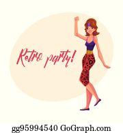 6752ce8ceb66 EPS Vector - Retro disco party invitation