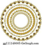 d504c7e37e7a round frame of figured gold chains set isolated on white background