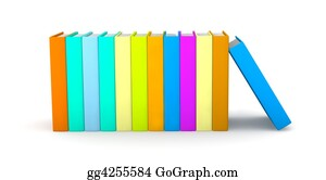 Drawing - Row of books. Clipart Drawing gg4113103 - GoGraph
