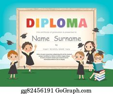 eps vector school kids diploma certificate template with animal