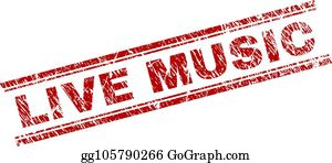 Scratched Textured LIVE MUSIC Stamp Seal