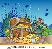 vector art underwater scenery with an open pirate treasure chest