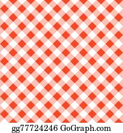 Red White Plaid Tablecloth; Seamless Pattern Of A Red White Plaid Tablecloth