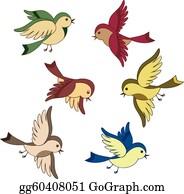 Birds flying. Bird clip art royalty