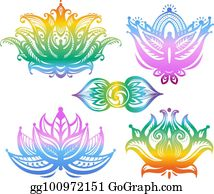 Clip Art Vector - Set of lotuses and esoteric symbols ...