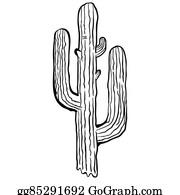 Cactus white. Black and clip art