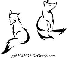 Fox sitting. Clip art royalty free