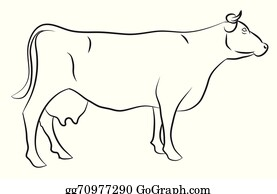 Cow Sketch Clip Art - Royalty Free - GoGraph