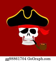 b32a644587f ... Skull Pirate portrait in hat. Eye patch. filibuster cap. skeleton  corsair