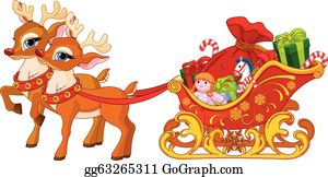 Sleigh Clipart Santa With Clip Art Illustration Of - Santa's Sleigh Clip Art,  HD Png Download - kindpng