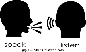 listen to a talk_Speak Clip Art - Royalty Free - GoGraph