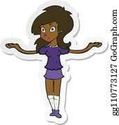 Confused Girl Cartoon Royalty Free Gograph