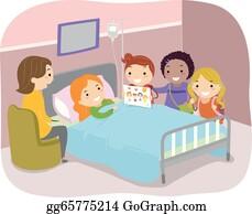 Vector Clipart Visiting Patient In Hospital Vector Illustration