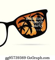 a3f6dc07bdf sunglasses with summer beach party icon on it illustration  sunglasses with  summer beach party with girl beauty on it illustration