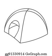 ... Tent icon in outline style isolated on white background. Ski resort symbol stock rastr illustration  sc 1 st  GoGraph & Stock Illustration - Tepee tent icon outline style. Clipart ...