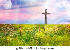 Stock Photography Wooden Cross And A Road To Jesus Stock Image