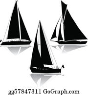eps illustration - vector silhouette old sailboat. vector clipart