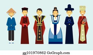 f500e11be8303 Traditional Asian Clothes Set People Wearing Beautiful National Costumes