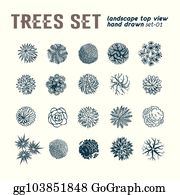 Vector Clipart - Trees top view  different plants and trees