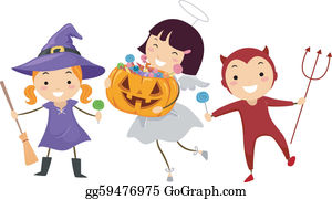 Kids Trick-or-Treating Clip Art , Images & Illustrations   Whimsy Clips ®