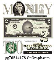 Two Dollar Bill Clip Art - Royalty Free - GoGraph