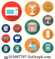 Vector Stock - Steamer, microwave oven, scales, lcd tv.household set ...