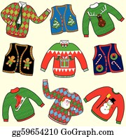 Ugly christmas sweater traditional. Clip art royalty free