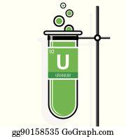 Vector illustration element of uranium stock clip art gg90428933 uranium chemical element uranium symbol on label in a green test tube with holder element number 92 of urtaz Choice Image