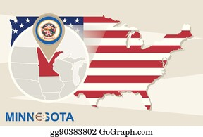 EPS Vector - Minnesota isometric map and flag. vector illustration ...