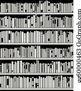 Modern Bookshelf Vector Abstract Black And White