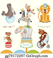 Circus Clipart of a Big Top Circus Tent and Wild Animals by visekart - #215