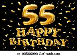 Vector Happy Birthday 55th Celebration Gold Balloons And Golden Confetti Glitters 3d Illustration Design For