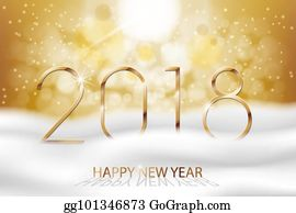 vector happy new year 2018 new year colorful winter background with gold text greetings