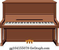 Piano brown. Upright clip art royalty