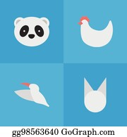 Vector Art - Vector illustration set of simple wild icons  elements