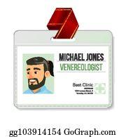 Venereologist Identification Badge Vector Man Id Card Template Clinic Hospital Specialist
