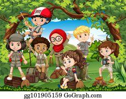 Kinder Wandern Clipart Lizenzfrei GoGraph