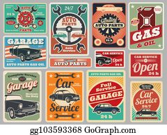 Vintage Gas Station Clip Art - Royalty Free - GoGraph