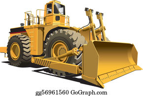 Clipart Of A Retro Yellow Excavator Bulldozer - Royalty Free Vector  Illustration by patrimonio #1136238