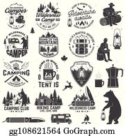 Camping wilderness. Clip art royalty free