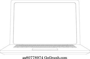 Clip Art Vector - Wire-frame open laptop  vector  Stock EPS