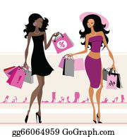 2bb4d3c1f0a Women Shopping Clip Art - Royalty Free - GoGraph