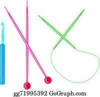 wooden knitting needles vector clipart gg71995392