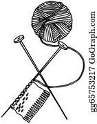 woollen thread and knitting needle eps vector gg65753217